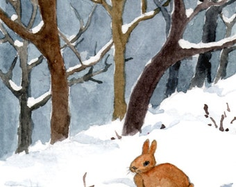 Bunny in snow, Aceo original watercolour, miniature art, Bunny art, Christmas painting, Christmas painting, Christmas decorations