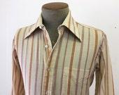1960s Vintage Men's Striped Shirt Cream Color Cotton Blend Long Sleeve Mad Men Era Shirt by D'Angelo's Shop For Men Topeka  - Size MEDIUM