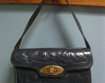 Vintage 1970's Navy Leather Tooled Handbag Carved Blue Leather Purse