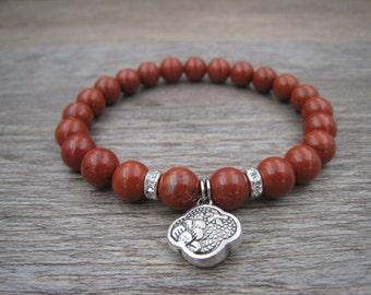 natural red jasper bracelet, red gemstone jewelry, red fashion jewelry, natural jasper jewelry, healing bracelet, handmade gift for her