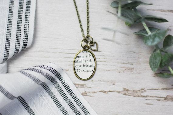 Dracula Bram Stoker Antiqued Bronze Victorian Literature Book Page Necklace