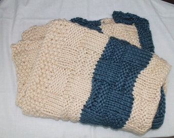 Blue and Cream Knitted Lap Blanket