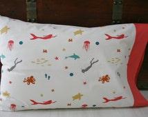 Organic Pillowcase, Standard Pillowcase, Organic, Cotton Pillowcase, Pillow Case, Pillowcase, Nautical, Mermaid: Octopus's Garden