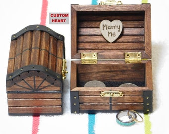 Wood Treasure Chest, Wedding Ring Box, Proposal, Engagement, Marriage, Anniversary, Ceremony, Pirate,Graduation, Custom Heart Personalized