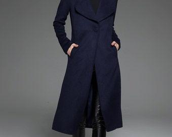Womens coats, navy blue coat, elegant coat, wool coat, winter coat, ladies coats, warm coat, long coat, classic coat, custom coat C751