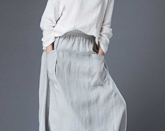 Modern Gray Skirt - Linen Casual Comfortable Everyday Trendy Contemporary Designer Women's Skirt C869