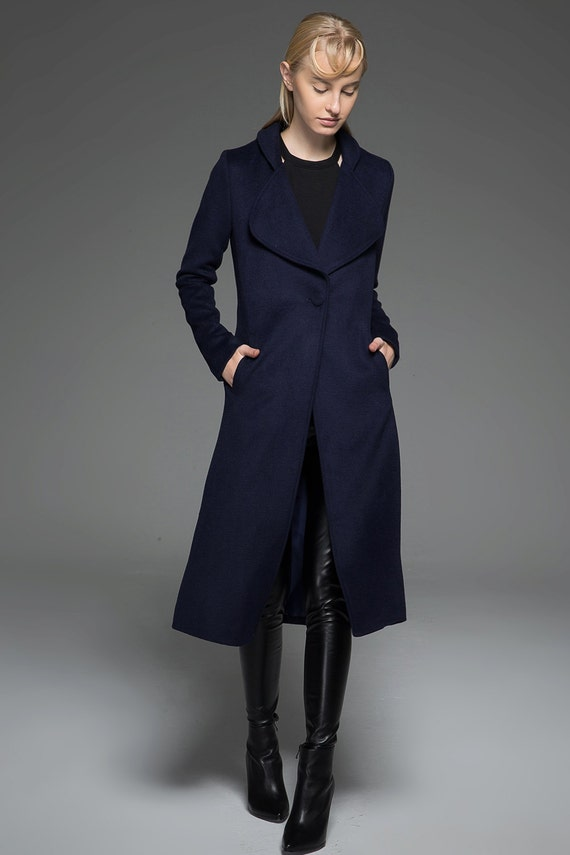 Classic Navy Blue Women's Coat Elegant Dark Blue Midi