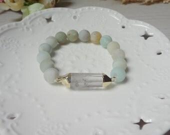 Quartz Crystal Druzy Drusy Gemstone Amazonite Beaded Statement Women boho Bracelet jewelry