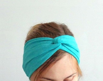 turquoise blue headband turban headwrap with twisted center turband head wrap fashion hair accessory head accessories