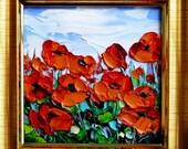 Poppy Art Original Oil Painting Small Mini FRAMED Art Flower Floral Textured Impasto Palette Knife Kitchen Bathroom Desk Gift for Her 4x4