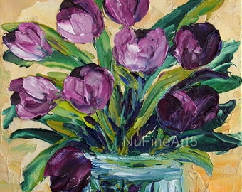 Tulip Original Oil Painting Flower Still Life Small Purple Floral Palette Knife Textured Impasto Canvas Panel Art Gift for Her Easy Framing