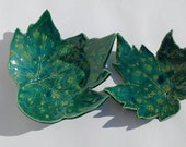 Pottery Ring Dishes Teal Ceramics made in UK Beautiful Crystal Pottery Leaves - Perfect as Ring Bearers for Weddings