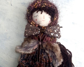 Fall Girl Doll, Autumn Rag Doll, OOAK Doll, Brown Hair Doll, Pixie Hat, Cloth Art Doll, Heirloom Doll, Gift for Girls
