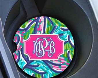 Personalized car coasters, Turquoise car cup holder coasters, Monogram girly car decor, Cute auto accessories, Gifts for Mom under 20 (1641)