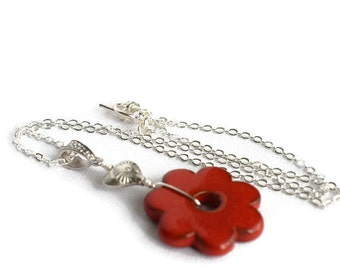 Red Flower Necklace, Ceramic Necklace, Simple Flower Necklace, Flower Pendant , Boho Flower Necklace, Layering Necklace, Red Necklace