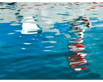 Abstract Water art photography, Nautical decor, bathroom art, sea print, blue red white modern wall art, large poster, 12x18, 20x30, 24x36