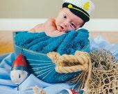 Captain Sailors Hat, Captain Hat, Baby Captain Hat, Photo Prop, Hat, Baby