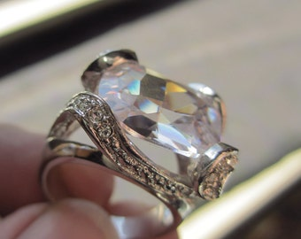 Vintage Huge CZ Statement Ring Diamante Silver Plated Size 9