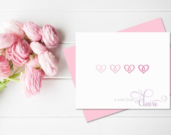 Girl Stationery Set | Girls Stationary Set | Hearts Stationery | Personalized Stationery Set |  Heart Gifts | Valentines Day Gift