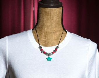 Turquoise Star Necklace with Red and Silver Color Beads, Simple Leather Cord Necklace, Stone Pendant Necklace, Gift for Women, 20 Inch