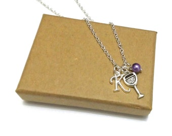 Wine Glass Necklace or Wine Bracelet, Wine Gift, Wine Jewellery, Wine Necklace, Wine Jewelry, Personalised Initial Jewellery