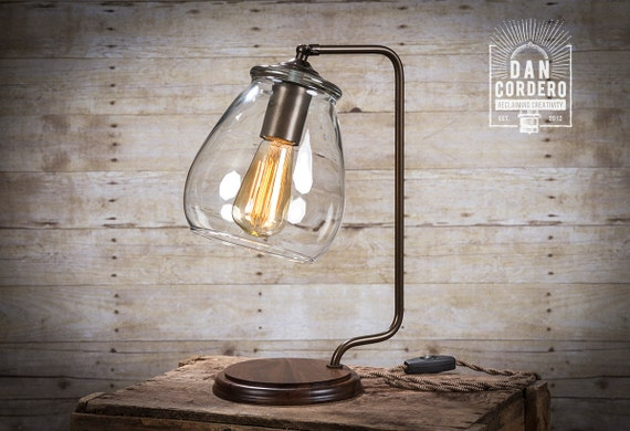 Glass Shade Edison Bulb Table Lamp Bronze Desk Lamp