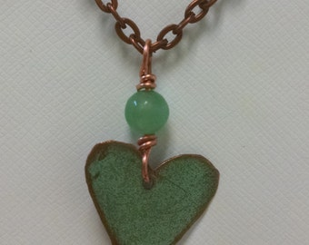 Bangor Public Library Copper Roof Small Heart Necklace With Aventurine Bead Limited Edition RM