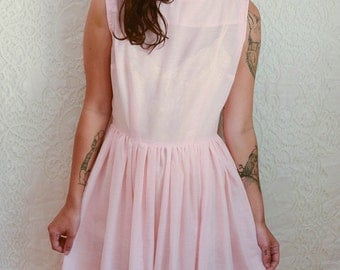 vintage 1950s solid pink handmade dress