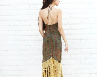 backless dress, fringe halter dress, hippie dress, 70s boho maxi, paisley silk dress, scoop neck, fitted dress, bohemian boho festival