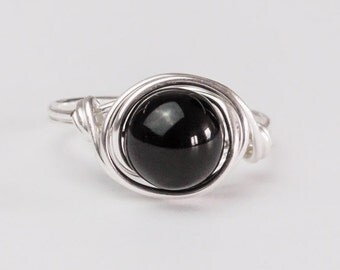 Obsidian Ring, Sterling Silver Ring, Black Ring, Any Size, Gifts for Her