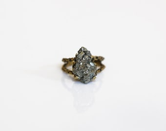 Pyrite solitaire ring