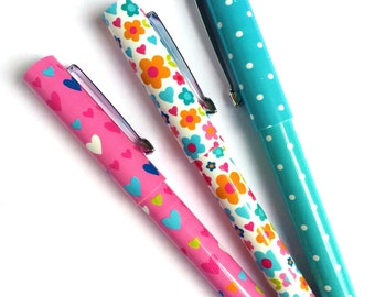 Set of 3 Pens Dots / Hearts / Flowers