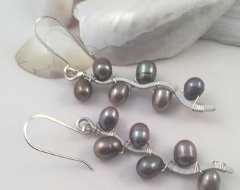 Handcrafted Peacock Pearl and Sterling Silver Dangle Earrings, Pussy Willow Inspired