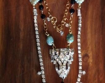 Bohemian Vintage Art Deco Rhinestone Long Necklace Repurposed Jewelry Turquoise Mixed Metal Layered Boho Chic Orig Assemblage Retro Jewelry
