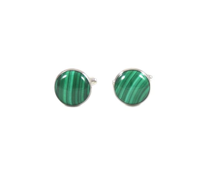 Malachite Cufflinks--Green Malachite--Malachite Silver--Malachite Gold--Malachite Jewelry for Men