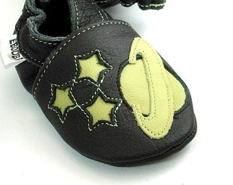 Soft sole baby shoes infant handmade olive Saturn space  black 12 18 m ebooba 116-3