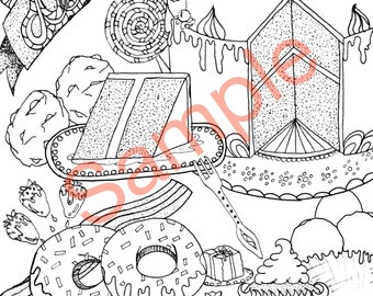 Desserts Adult Coloring Sheet