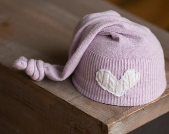 Upcycled Newborn Girl Hat Lavender Purple Sleepy Time Stocking Hat with White Heart Patch READY TO SHIP Elf Hat Photography Prop Newborn Hat