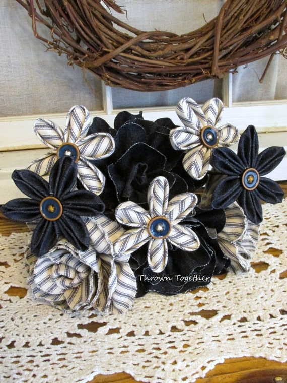 Items similar to fabric flower bouquet rustic wedding for Denim centerpieces
