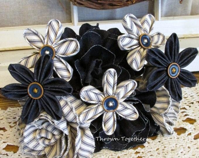 Fabric Flower Bouquet, Rustic Wedding Bouquet, Farmhouse Centerpiece Flowers, Denim Blue Ticking Bouquet, Rustic Wedding Centerpiece