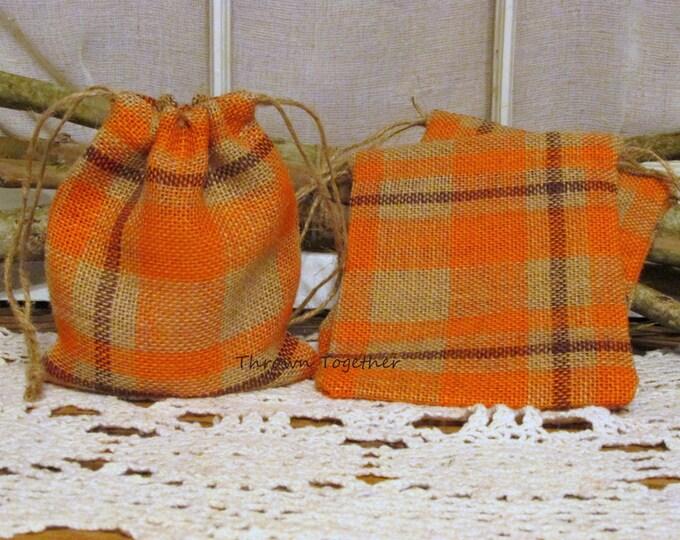 Orange Plaid Burlap Favor Bags, Halloween Party Favors, Rustic Favor Bag, Orange Plaid Party Favor Bag, Set of 5 Handmade Rustic Burlap Bags