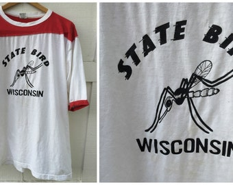 80's State Bird of Wisconsin Mosquito Jersey T-shirt - Men's Size XL