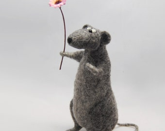 Needle Felted Rat, Needle Felted Animal, Rat Doll, Gift for Rat Lovers - READY TO SHIP