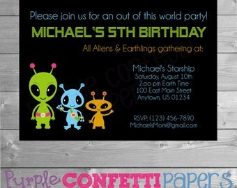 Alien Birthday Invitation, Alien Party, Out of this World Party, Space Invite, Space Invitation, UFO, Green Blue Orange, Printable