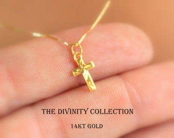 14KT Solid Gold Cross Necklace Women Girls Fine Jewelry 14K Superb Quality Christian Catholic Necklaces