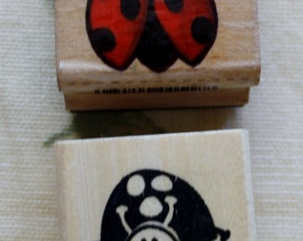 Ladybugs Set of Two Rubber Stamp Square