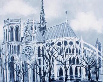 """Notre Dame de Paris - original acrylic painting on canvas 24"""" x 24"""""""
