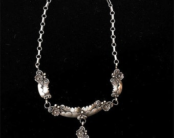 Exceptional Navajo Pawn Sterling Silver Applique Choker/Necklace, Vintage Handmade Native American Jewelry