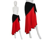 Yves Saint Laurent YSL 1970s Vintage Evening Set Asymmetrical Maxi Skirt Stole Red Black US Size 10 Medium
