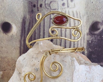 Viking arm ring, snake arm band, carnelian jewelry brass arm cuff, wire wrapped upper arm bracelet, viking knot inspired snake jewelry